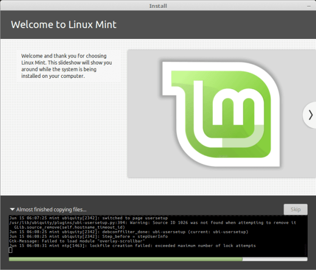 Install Linux Mint in VirtualBox - Installation Started
