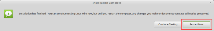 Install Linux Mint in VirtualBox - Click Restart Now Button