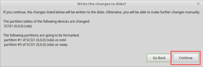 Install Linux Mint in VirtualBox - Confirm Erasing Disk