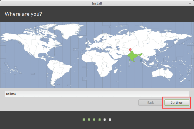 Install Linux Mint in VirtualBox - Select Country