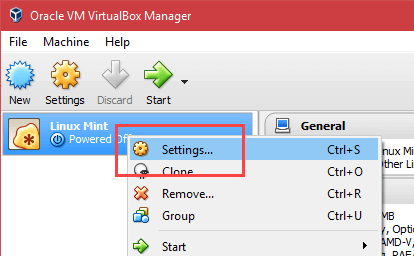 Install Linux Mint in VirtualBox - Select Settings