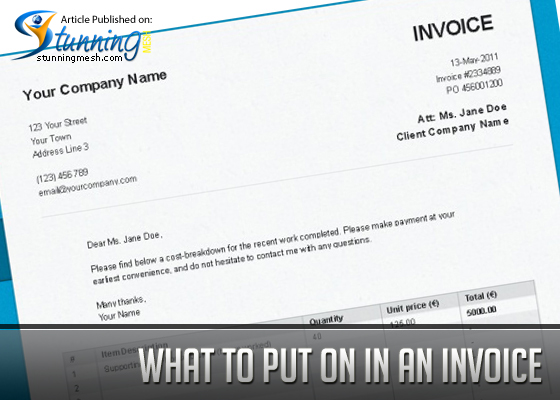 What to Put on in an Invoice