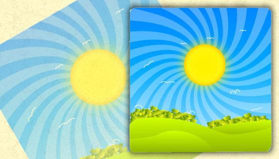 Landscape Morning View in Illustrator
