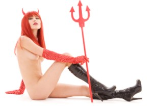 picture of naked red devil girl with trident