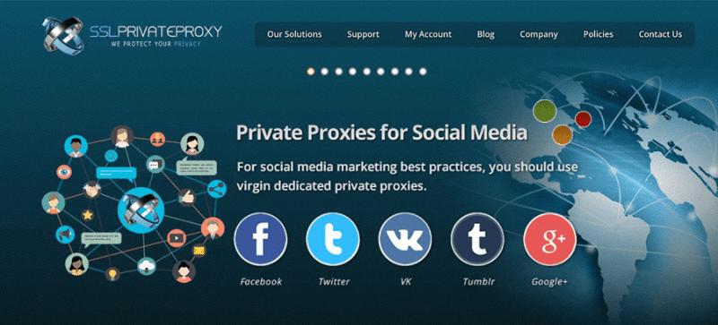 SSL Private Proxy website homepage