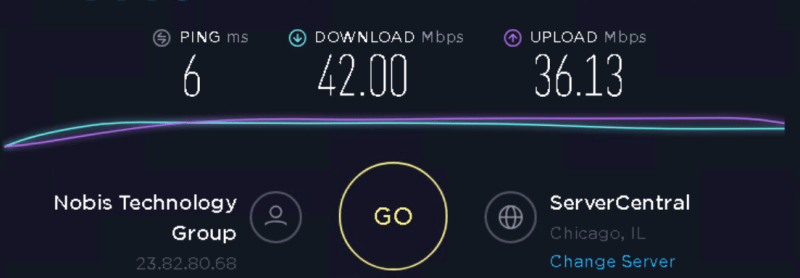 Speed test to 23.83.88.10