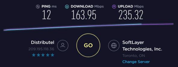 Speed test toCA IP2 - 209.195.118.36