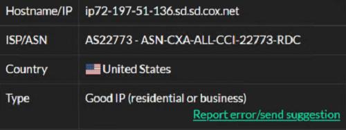 IP4- 72.197.51.136 ISP test
