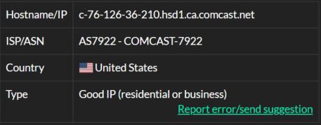 IP9- 76.126.36.210 ISP test