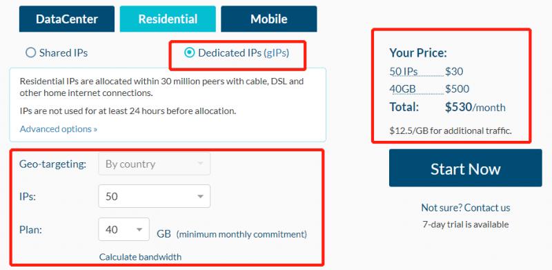 dedicated Residential IPs price plan