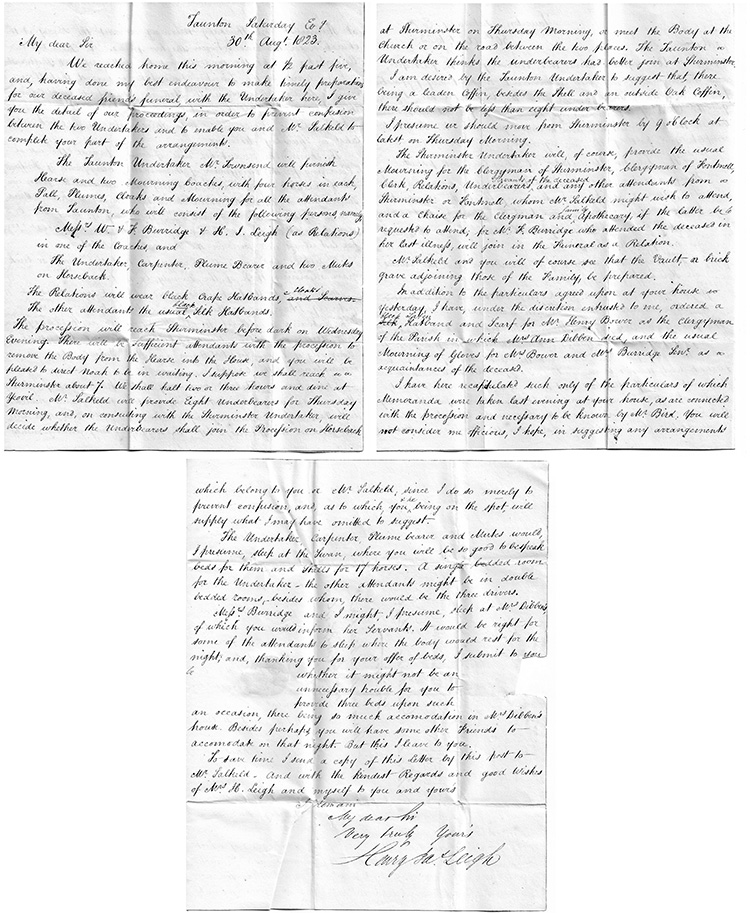 Letter from Henry Leigh of Taunton to Thomas Dashwood in connection with the death of Anne Dibben, 30th August 1823