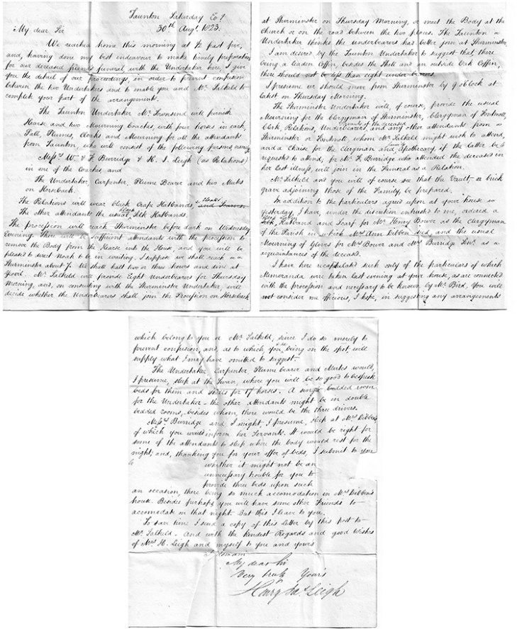 Letter from Henry Leigh of Taunton in connection with the death of Anne Dibben, 30th August 1823