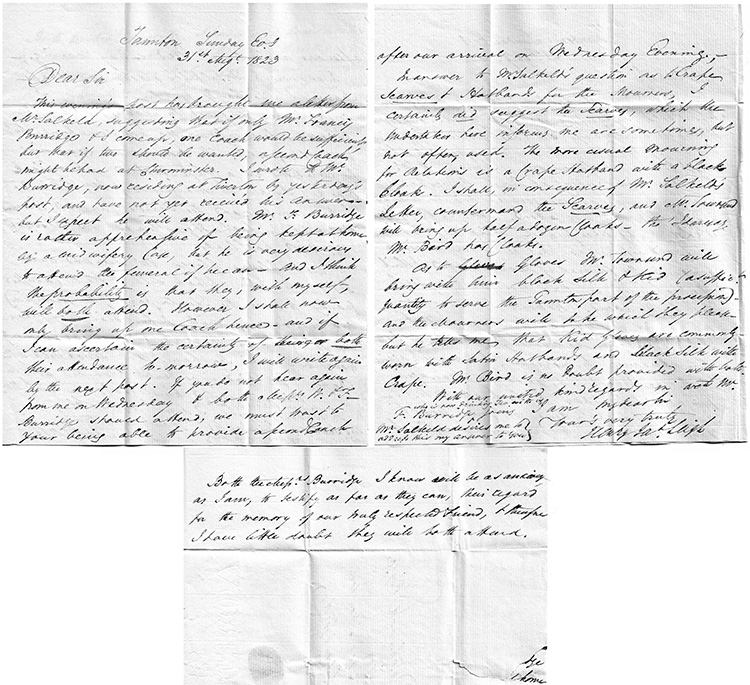 Letter from Henry Leigh of Taunton to Thomas Dashwood in connection with the death of Anne Dibben, 31st August 1823