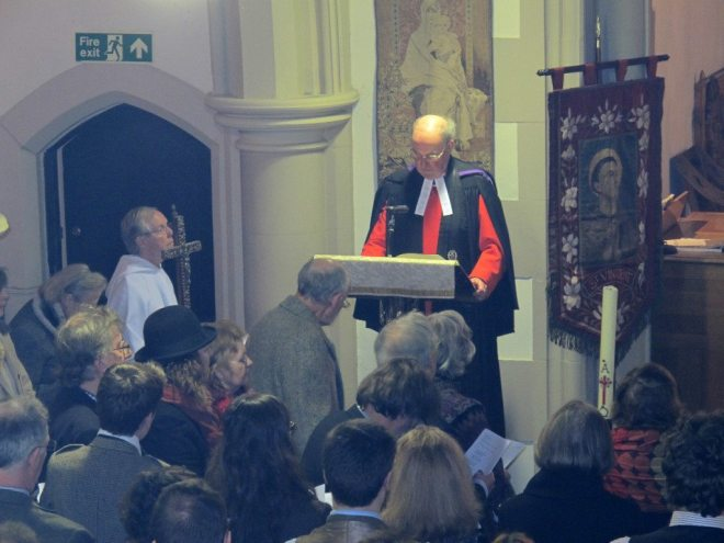 Very Reverend Gilleasbuig Macmillan, late of St Giles' Cathedral, reads the Gospel during the Institution Eucharist of Canon Allan Maclean as Rector of St Vincent's on St Vincent's Day, 22 January 2015