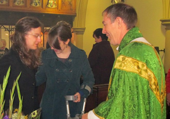 Michael and Eleonora Hull with a friend following the Service of Commissioning.