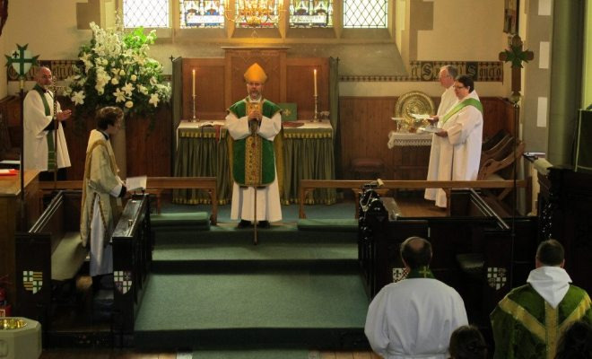 The Right Reverend Dr John Armes, Bishop of Edinburgh, at St Vincent's on 20 June 2015 for the Commissioning of The Reverend Dr Michael Hull as Assistant Priest.