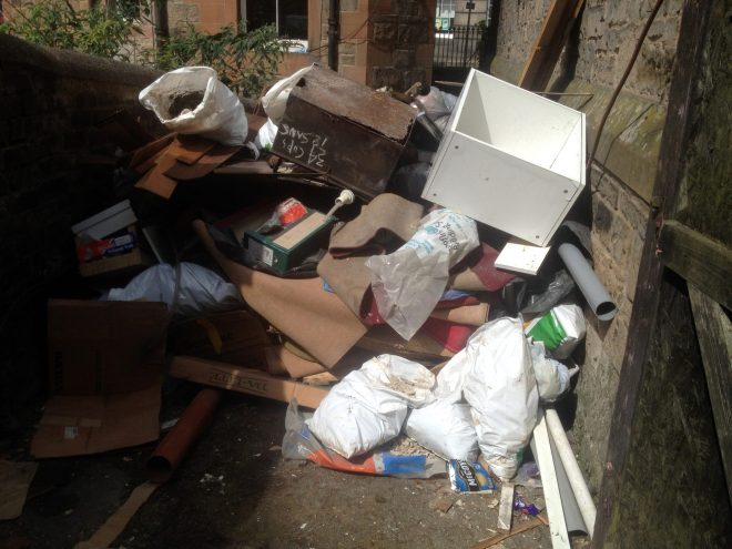 Some of the rubbish waiting to be removed from the west end of St Vincent's in July 2015.