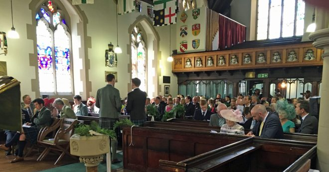 The congregation awaits the bride's arrival for the wedding of Andrew and Lucy at St Vincent's on Saturday 28th May 2016