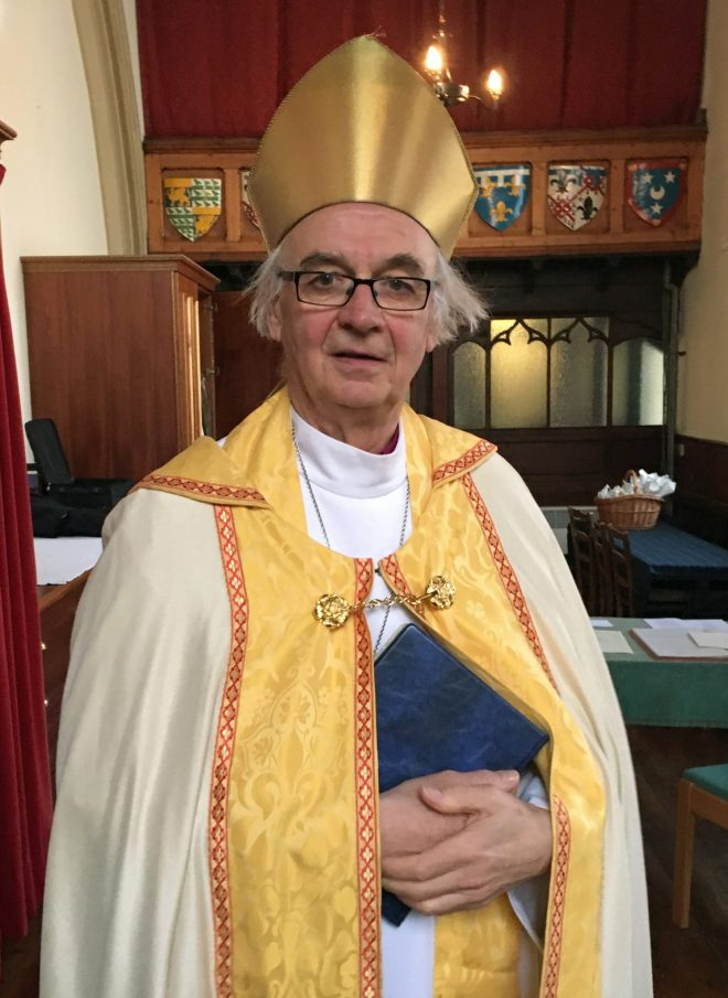 The Right Reverend Brian Smith, sometime Bishop of Edinburgh, who conducted the marriage of Andrew and Lucy at St Vincent's on Saturday 28th May 2016.