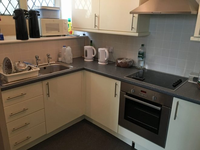 Our well equipped kitchen is an extension to the Refectory.