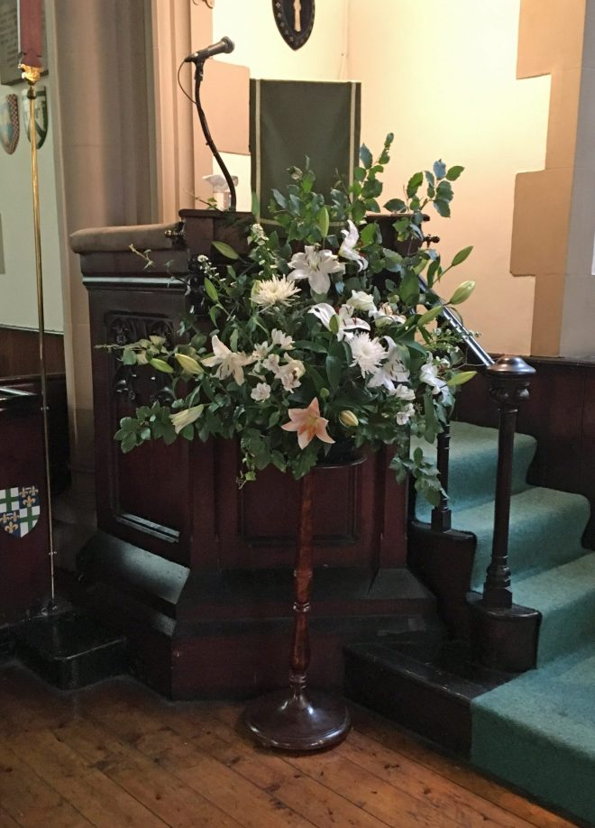 Pulpit flowers for Doors Open Day on 24th and 25th September 2016 when over 500 people visited St Vincent's.