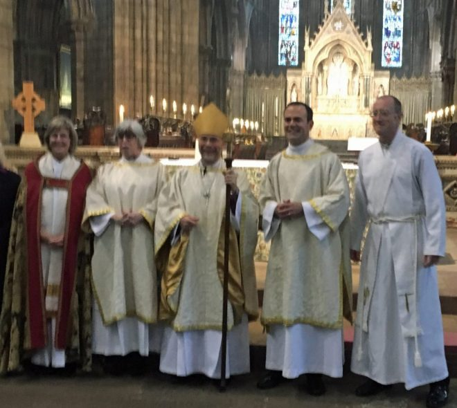 Oliver, to the right of the Bishop of Edinburgh, following his ordination as a deacon in the Scottish Episcopal Church on 25th September 2016