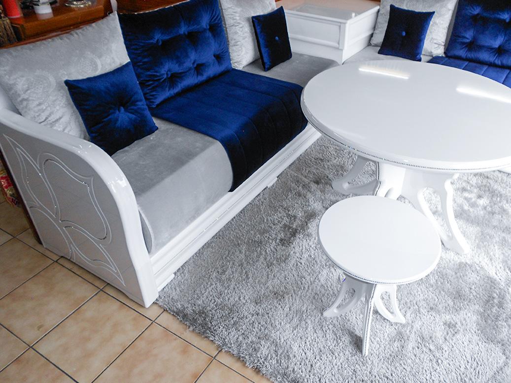 Salon Complet Modele Diamond Blanc Salon Marocain