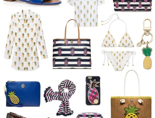 Tory Burch, accessories, bags, footwear, beach, swimwear, pineapple prints, sale
