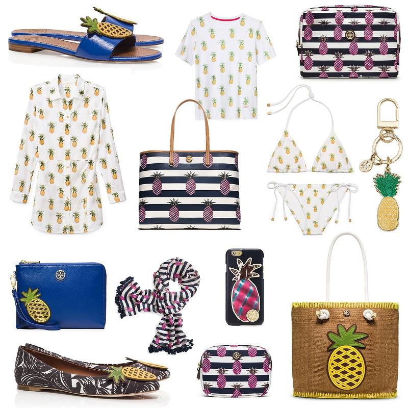 Tory Burch, accessories, bags, footwear, beach, swimwear, pineapple prints, sale