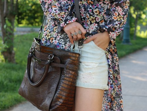 Summer outfit, floral dress, denim shorts