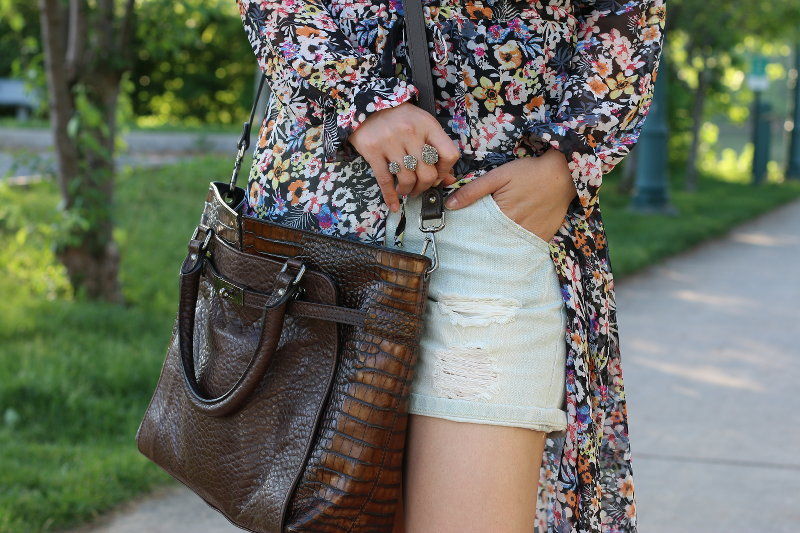 Summer outfit, floral dress, denim shorts
