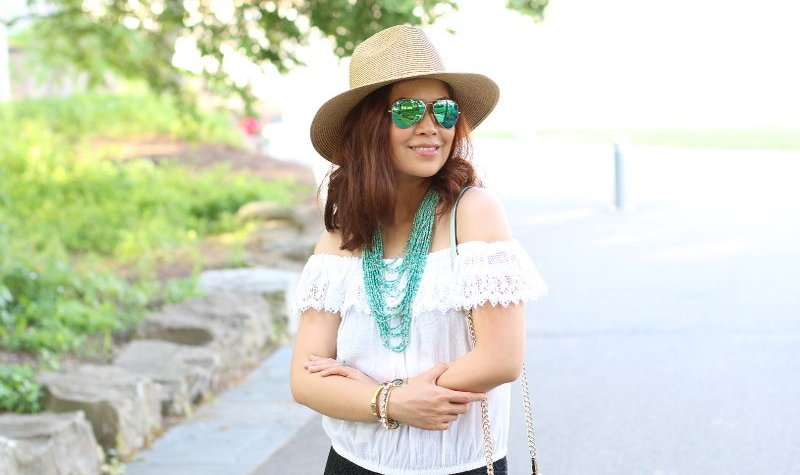 summer fashion, black and white, teal, outfit, look, style