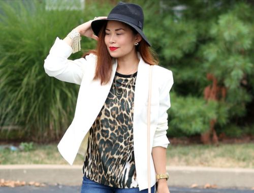 white blazer, animal print, floppy hat, red lips