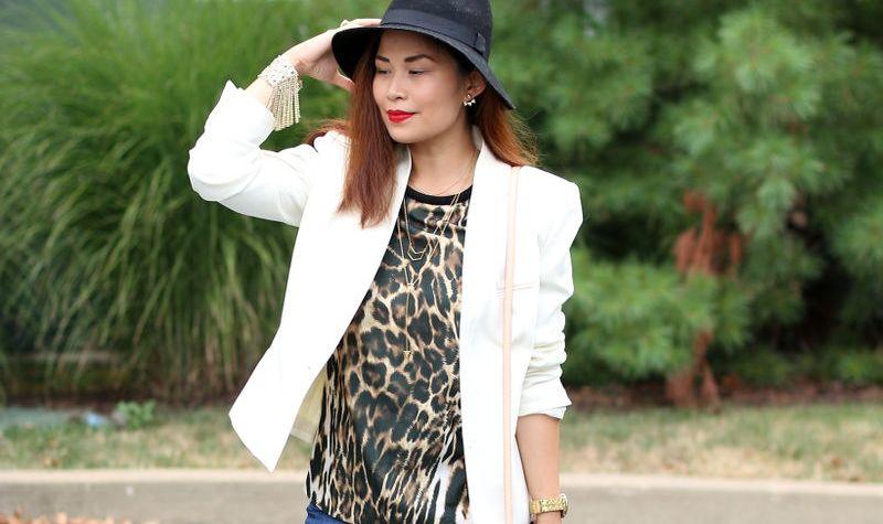 white blazer, animal print, floppy hat, red lips
