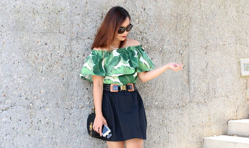 Palm leaf print, off shoulder top, outfit, styleanthropy, ootd
