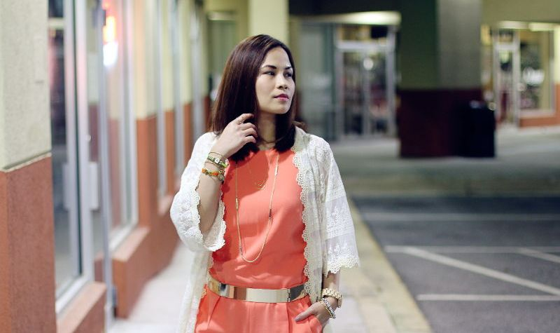 Trina Turk jumpsuit, lace kimono, outfit