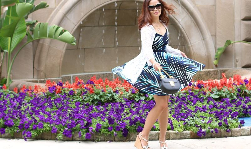 cocktail dress, Trina Turk, twirl outfit, boho chic, lace fringe kimono, fashion, style tips