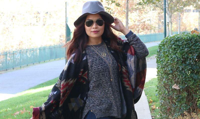 fall outfit, poncho, shopzyania, fedora hat, sweater, ray-ban