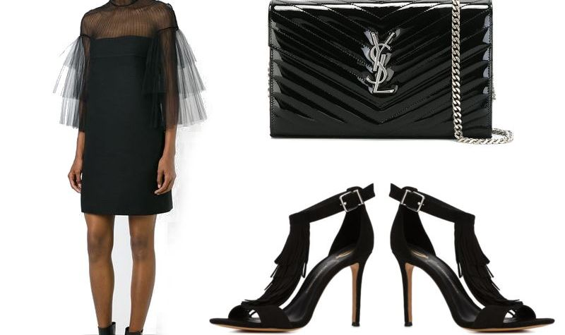 Holiday Outfit Inspiration. Black Cocktail Dress and Accessories, YSL, fringe sandals
