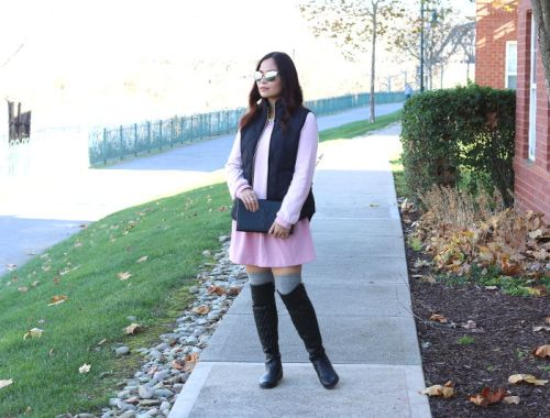 Later Pink Dress with Black Puffer Vest outfit