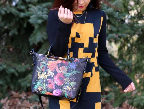 Thanksgiving outfit, Lattori abstract dress, Elliott Lucca floral artisan bag