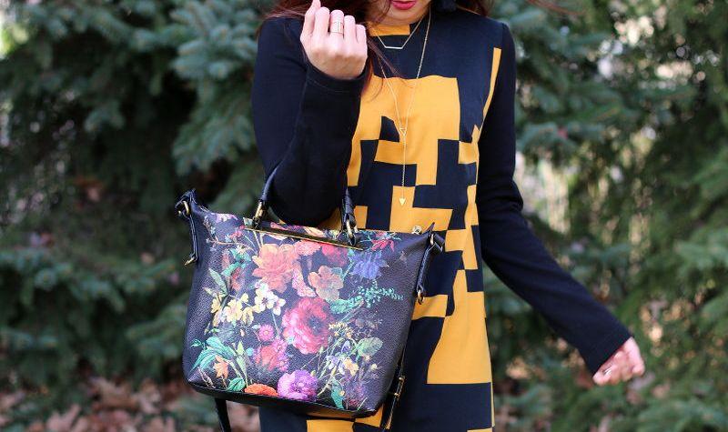 Thanksgiving outfit, Lattori abstract dress, Elliott Lucca floral artisan bag