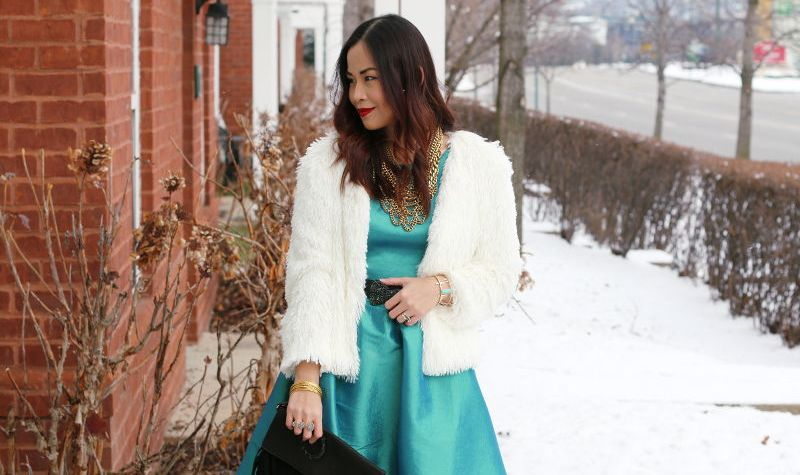 Shabby Apple Green Nutcracker Dress with Faux Fur Shearling Jacket