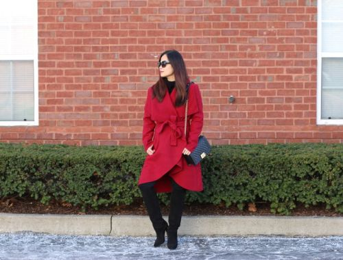 SheIn Red Coat, Quay Sunglasses, Topshop tall boots, Chanel Boy bag