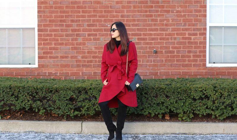 SheIn Red Coat, Quay Sunglasses, Topshop tall boots, Chanel Boy bag