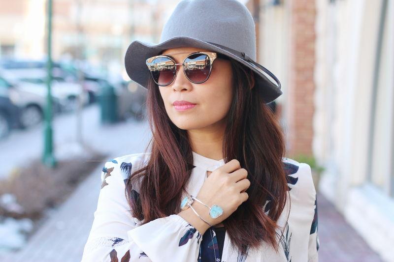 Spring Look, Floral Tunic, Larimar Cuff, Prada brow bar sunglasses, gray fedora hat