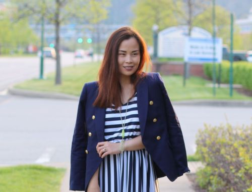 Banana Republic Navy Blazer, Striped Romper