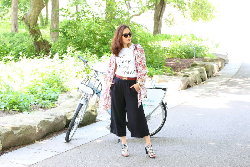 Eat Sleep Blog Repeat Shirt, Culottes, kimono, bike
