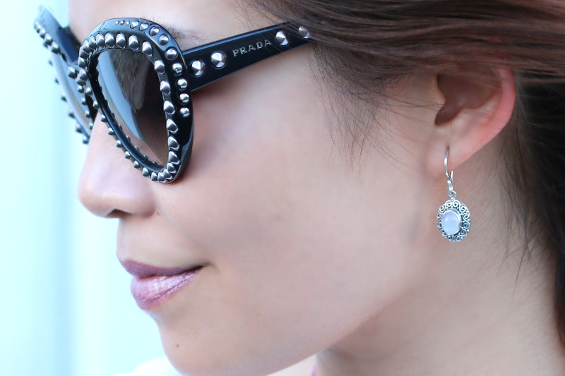 Moonstone Earrings, Prada Sunglasses, lipsense lipstick
