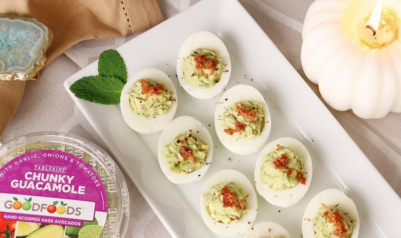 GOODFOODS Guacamole Deviled Eggs , holiday entertaining, recipe